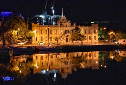 Hobart building at night