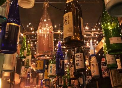 Hanging sake bottles at Bar Wa Izakaya, Hobart