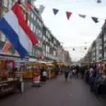 Albert Cuyp Markt with flag of best things to do in amsterdam