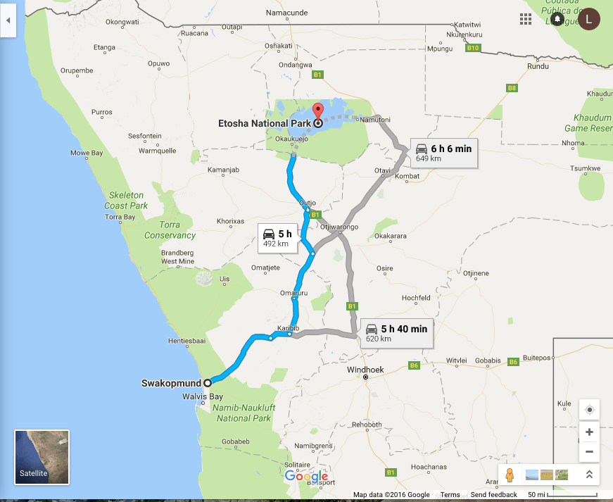 Our road trip from Swakopmund, Namibia to Etosha National Park