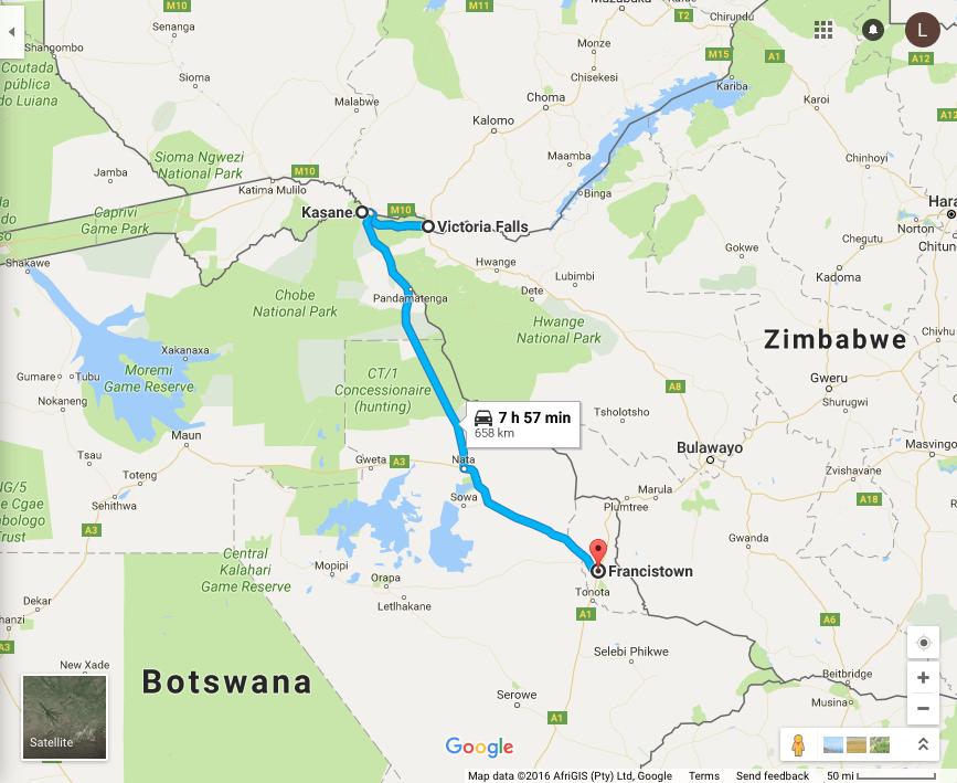 Kasane, Botswana to Victoria Falls, Zimbabwe, to Francistown, Botswana