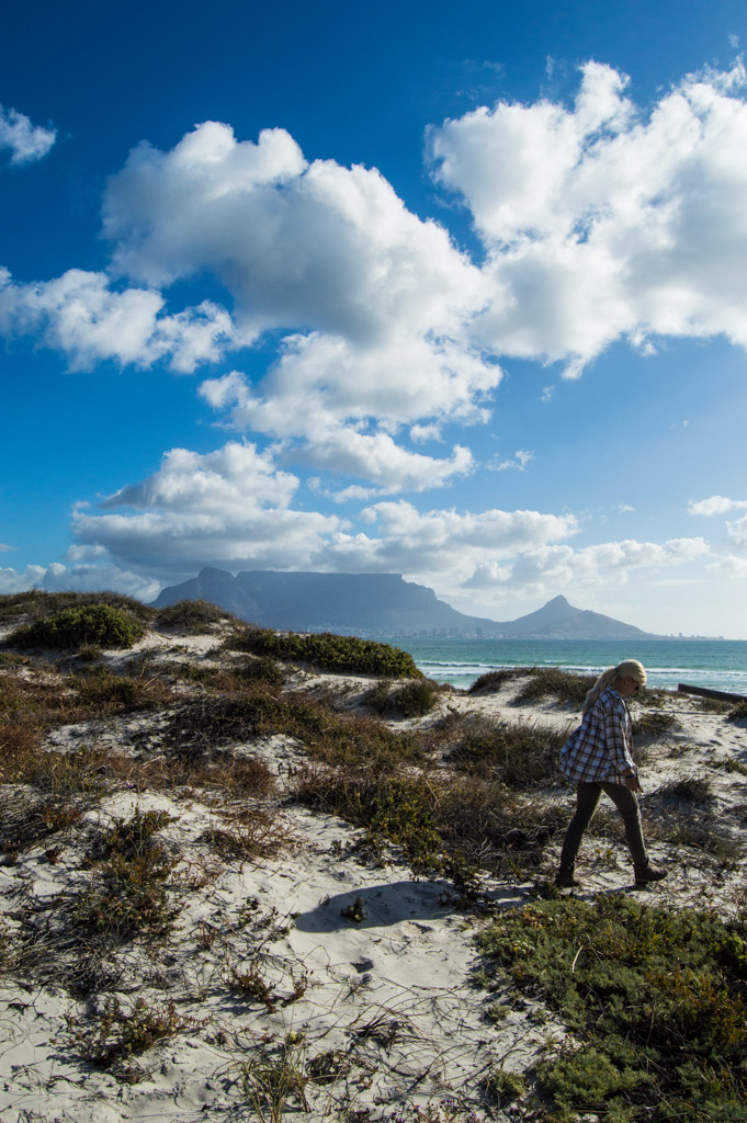 Walking the dunes at Dolphin Beach near Table View, Cape Town, South Africa