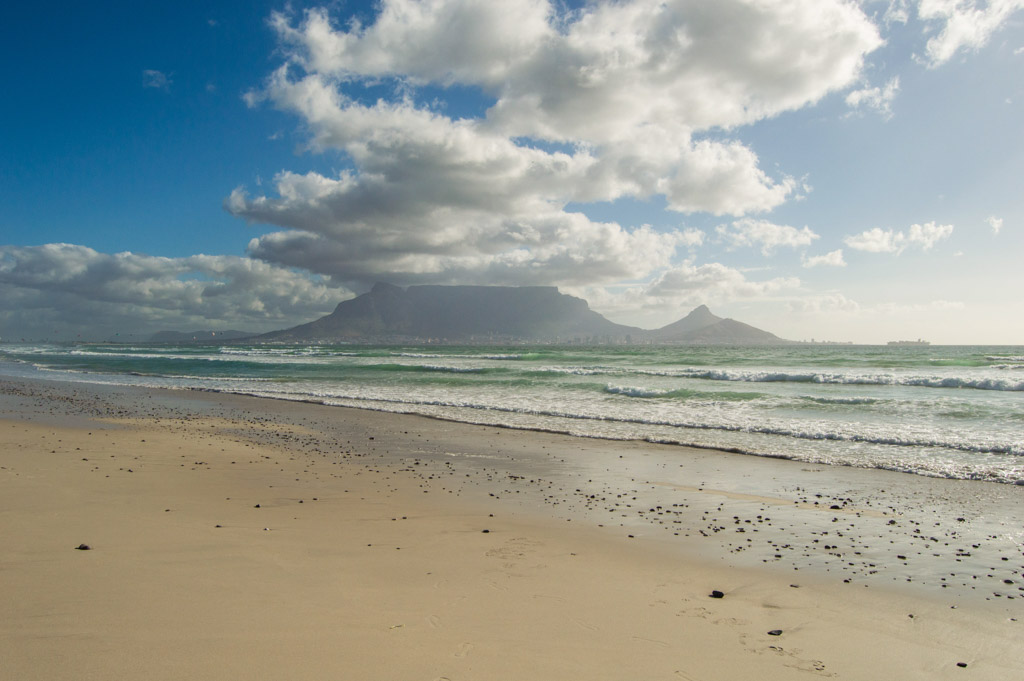 A lot of the famous shots you see of Table Mountain in the distance across the Atlantic Ocean come from Dolphin Beach near Blouberg, Cape Town, South Africa