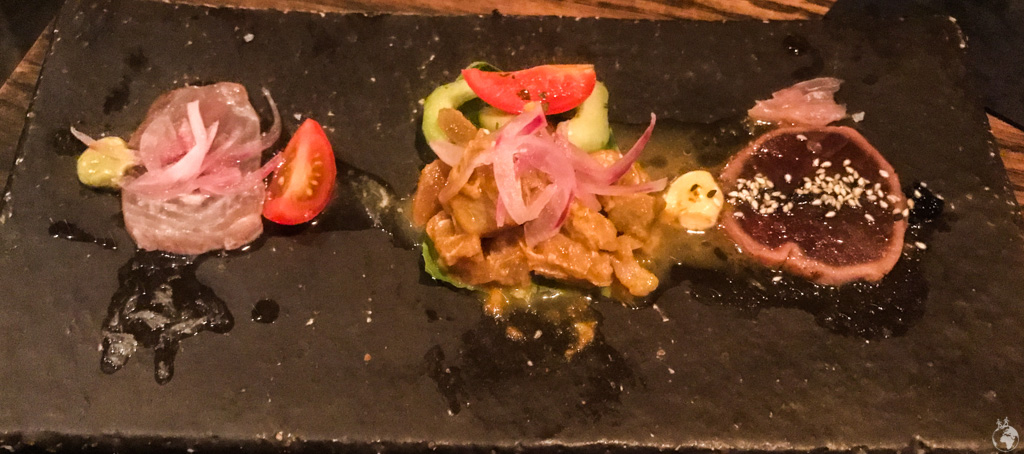 A trio of ceviches at Charango, Cape Town