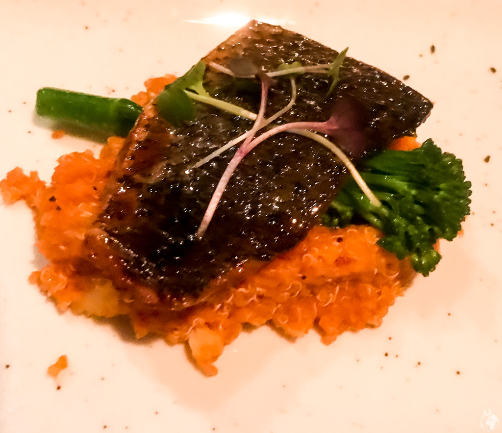 Miso cured kob and prawn infused quinoa at Charango, Cape Town, South Africa
