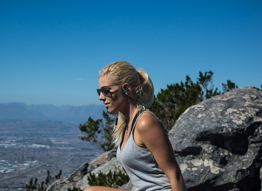 Using Specter Wireless Efitz wireless earbuds on Devil's Peak in Cape Town, South Africa