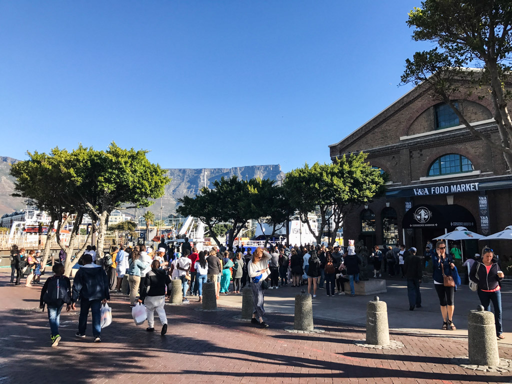 The V&A Food Market with Table Mountain as a backdrop