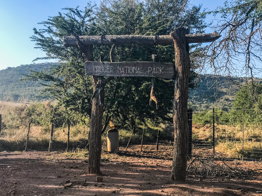Kruger National Park sign at the Punda Maria Gate