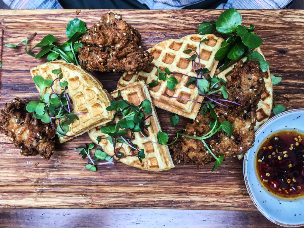 The delicious Chicken and Waffles!
