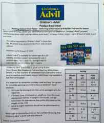 Children's Advil Product Fact Sheet