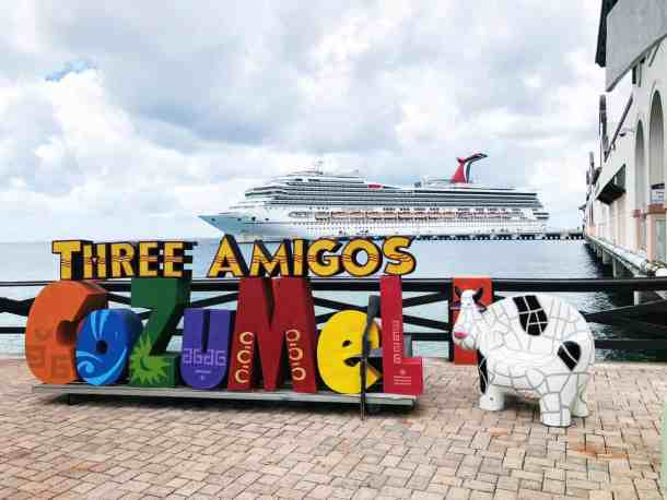 The Carnival Cruise Ship Paradise from Cozumel Mexico