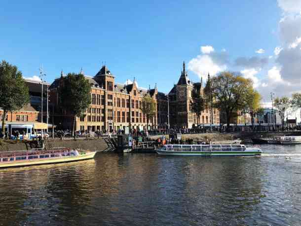Amsterdam canal and Centraal Train Station