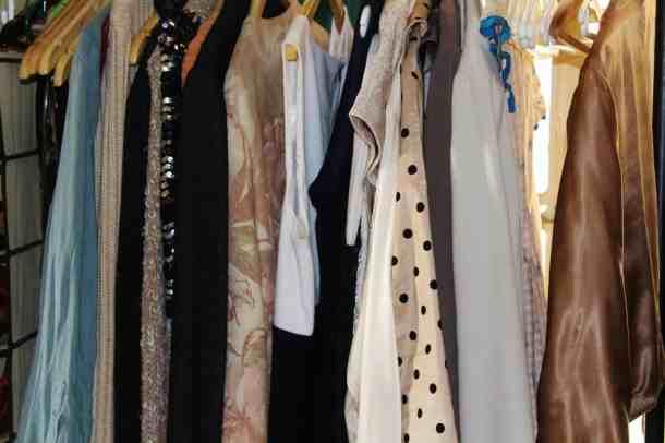Women's clothes hanging closet