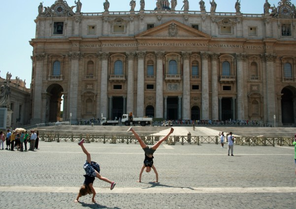 Cartwheels in front of St Peters Basilica