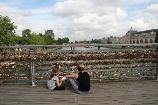 The girls checking out the locks, Paris, France