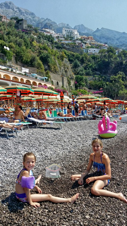 The girls at Fornillo Beach, Positano, Italy