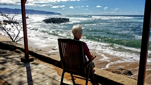 Gramma watches the waves