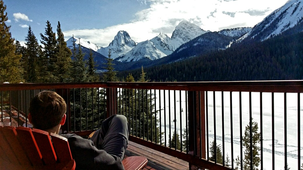 The view from the deck of the Whiskey Jack Cabin, Mount Engadine Lodge, Kananaskis, Alberta