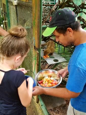 Feeding the animals at Kids Saving the Rainforest, Quepos, Costa Rica