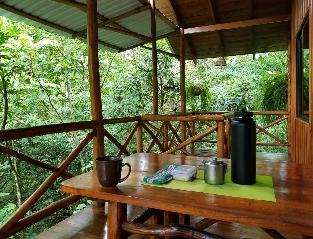Morning coffee delivery, Treehouse Hotel, Costa Rica