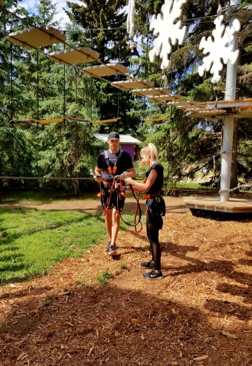 Learning to use the Belay System, Snow Valley Aerial Park, Edmonton, Alberta