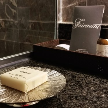 Bathroom amenities, Fairmont Copley Plaza, Boston