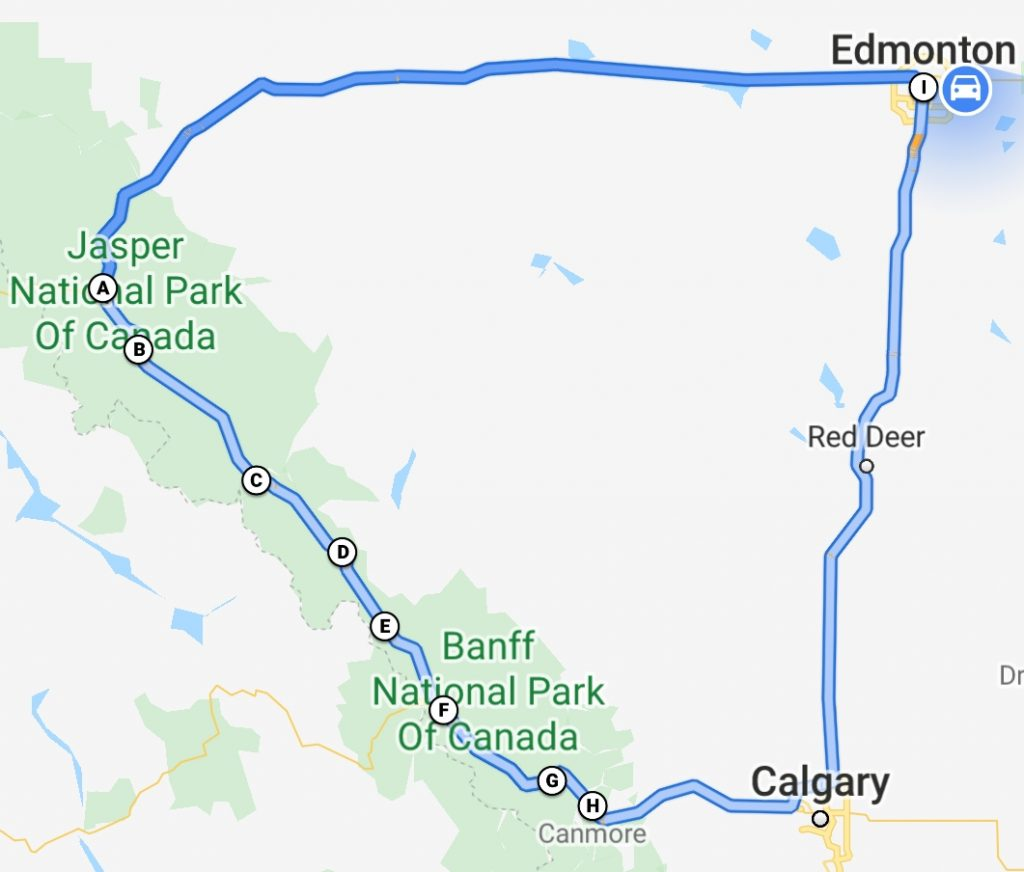 Google Map Roadtrip from Edmonton thru Jasper and Banff via the Icefields Parkway