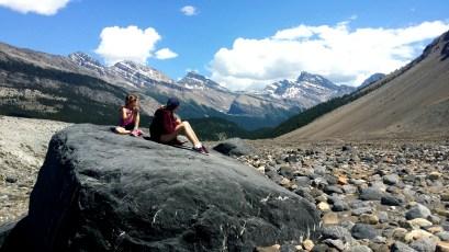 Resting along the Saskatchewan Glacier Hike
