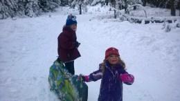 Isabella (7) and Aurelia (4) heading up the sledding hil
