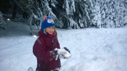 Isabella playing in the snow
