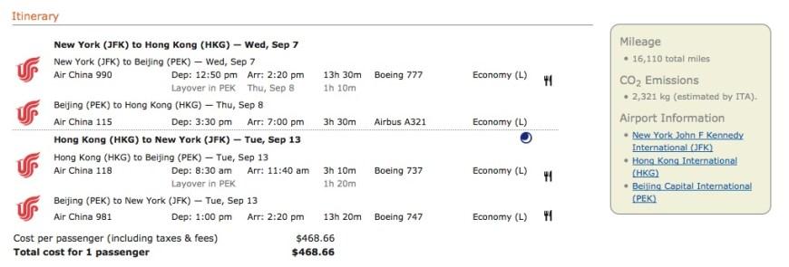 Air China New York to Hong Kong