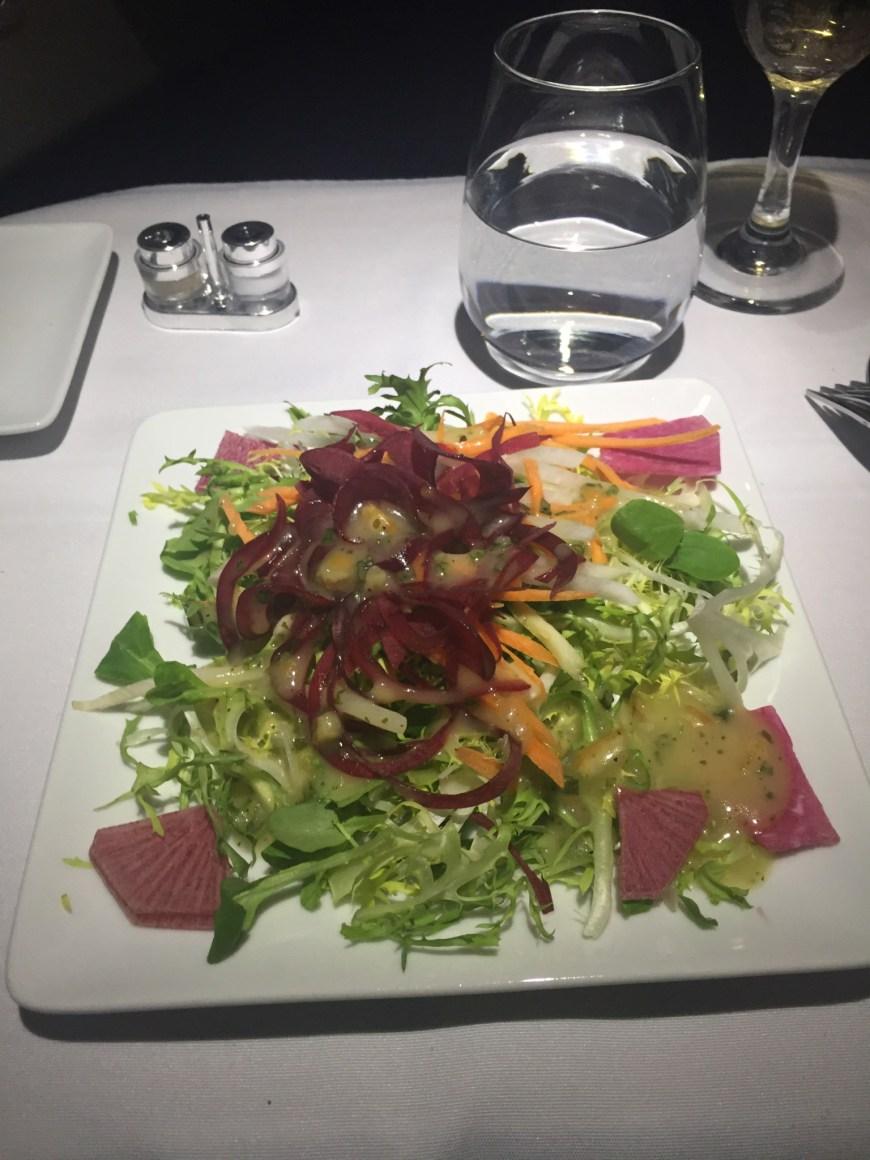 Salad with chive vinaigrette