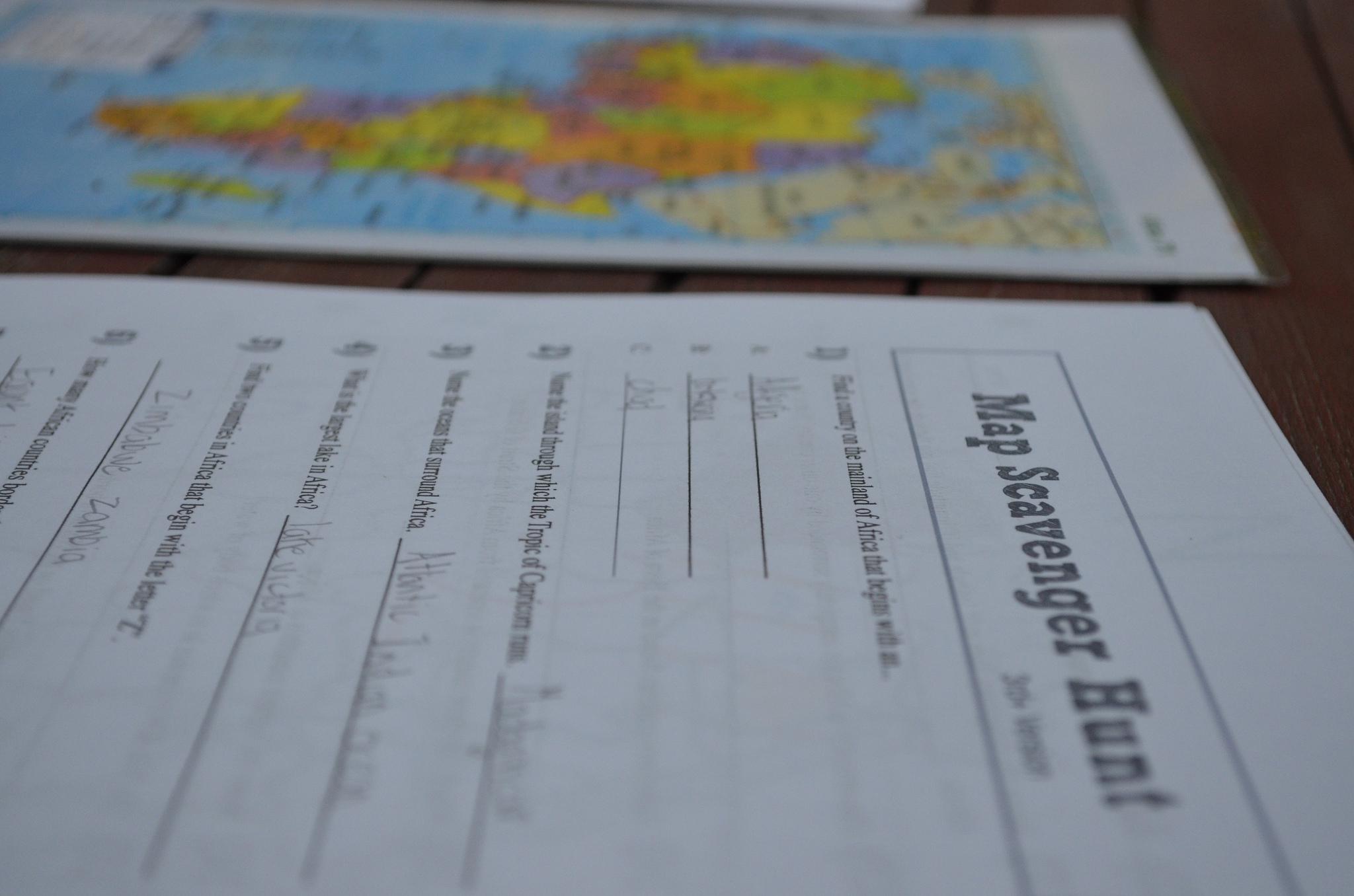 Map Africa Map Scavenger Hunt