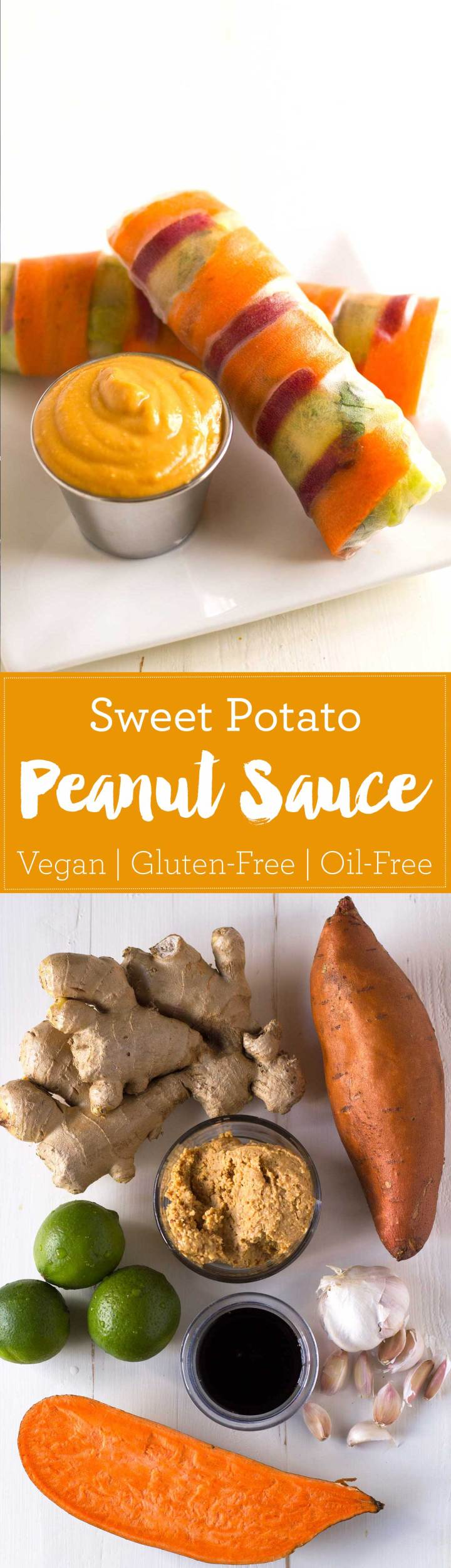 Sneak some fiber and veggies into a sweet and savory sweet potato peanut sauce! Oil-free, vegan, gluten-free, full of flavor! | https://passtheplants.com
