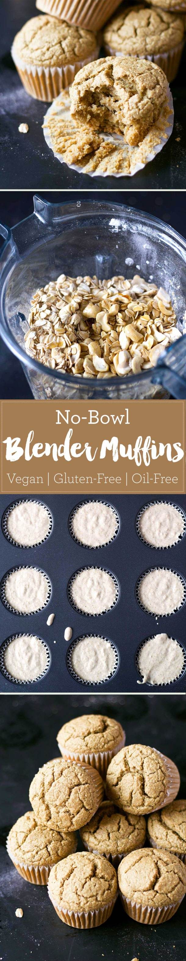 These vegan blender muffins are healthy and so easy to make! Oil-free, gluten-free, and super soft! | https://passtheplants.com