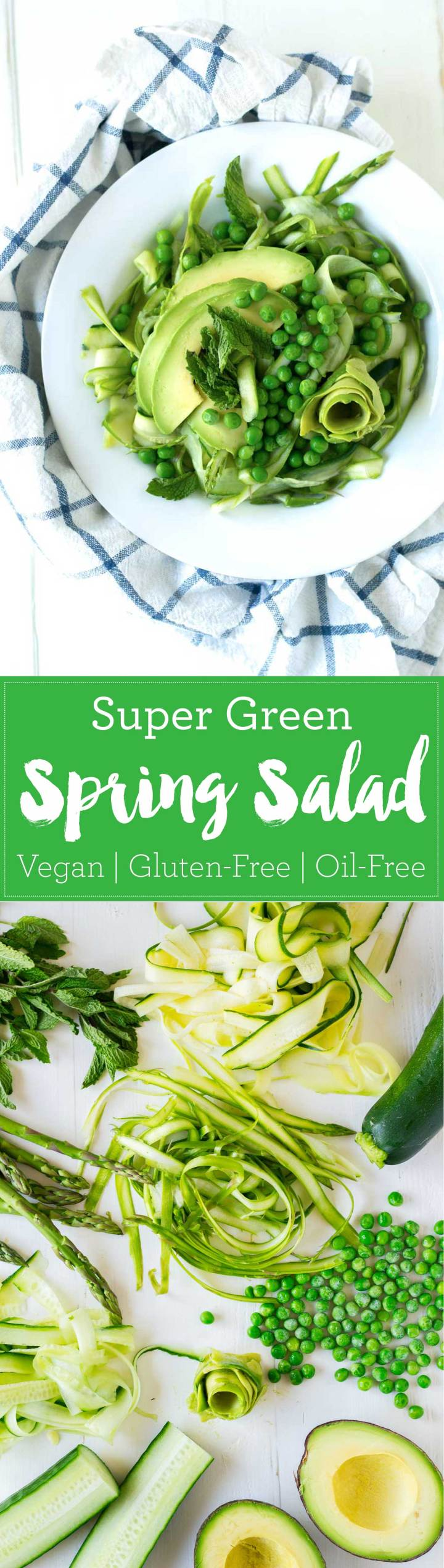 This super green spring salad is chock full of all of the green things of the season! Toss with a very simple 3-ingredient dressing and enjoy! Vegan, Gluten-Free, Oil-Free | https://passtheplants.com