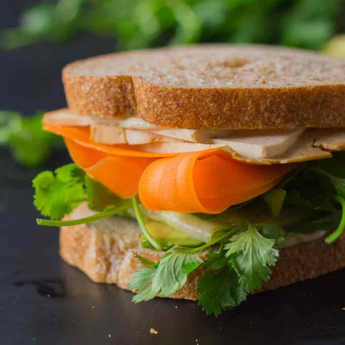 Tofusion Vegetable Sandwich - Asian flavors converge in this surprisingly delicious sandwich! Make lunch more adventurous! Vegan, Oil-free | https://passtheplants.com