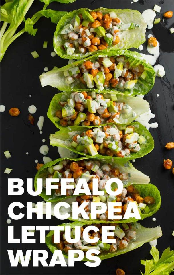 Buffalo Chickpea Lettuce Wraps   Roasted chickpeas are tossed with a spicy buffalo sauce and layered into a lettuce wrap, then topped with crunch celery and creamy avocado! Drizzle with vegan ranch dressing for the perfect lunch or light dinner!   https://passtheplants.com