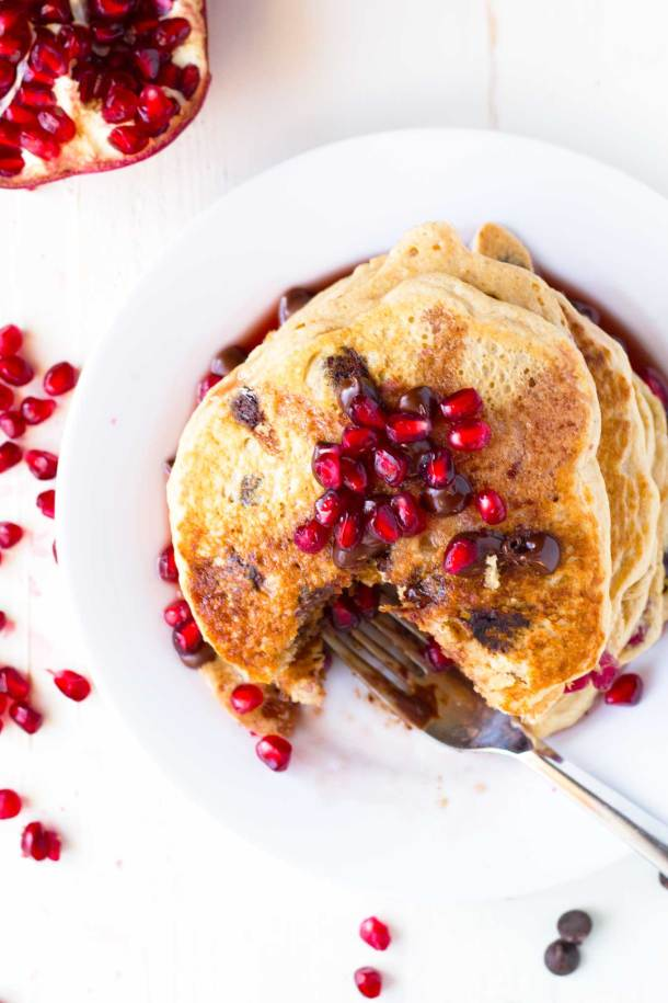 Pomegranate Chocolate Chip Pancakes with Pomegranate Syrup   Vegan, Oil-free, amazingly delicious!   https://passtheplants.com