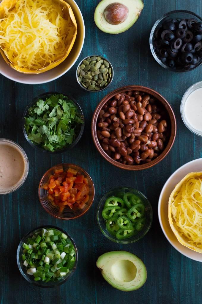 Spaghetti Squash Burrito Bowls   Gluten-free   Vegan   Plant-based   Recipe   Grain-free   Oil-free   https://passtheplants.com/