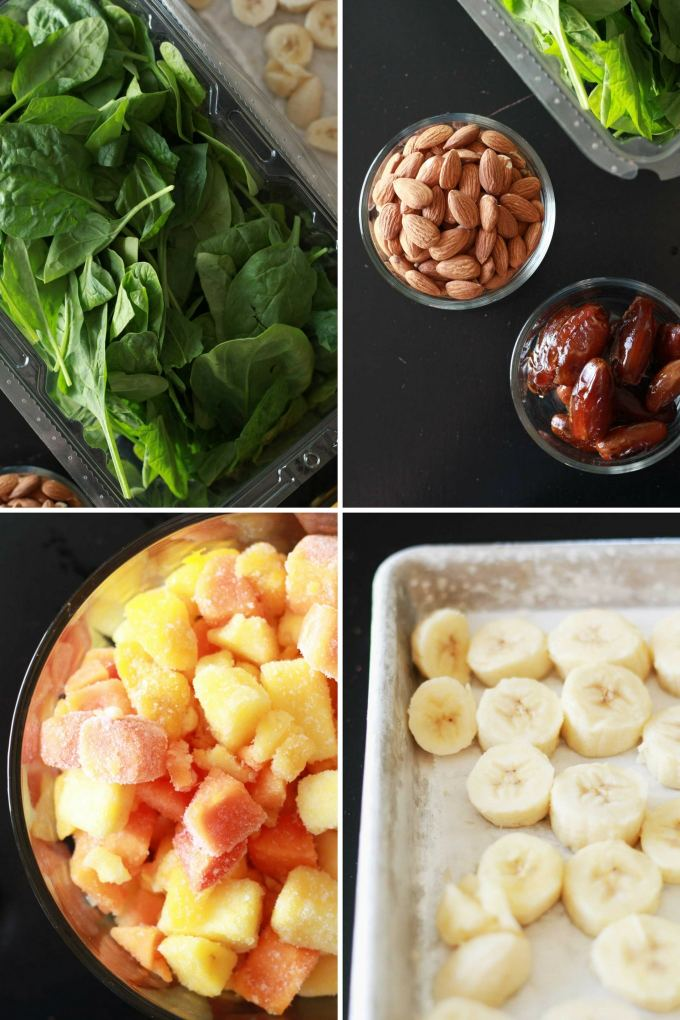 Perfect Green Smoothie | Smoothie ingredients displayed in collage = baby spinach, raw almonds, dates, frozen tropical fruit mix, frozen bananas | Vegan green smoothie recipe | https://passtheplants.com/