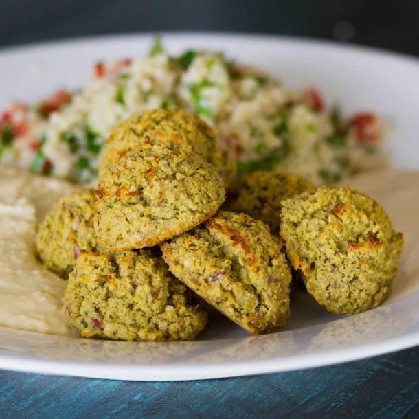 Oven-Baked Falafel on mezze platter   Plant-based   Oil-free   Vegan   Gluten-free   https://passtheplants.com/