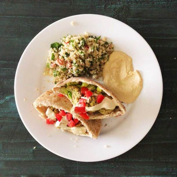 Oven-Baked Falafel in pita pockets with hummus and quinoa tabouli salad   Plant-based   Oil-free   Vegan   Gluten-free   https://passtheplants.com/