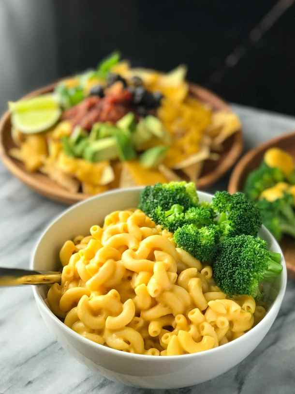 Protein-Packed Vegan Cheese Sauce | Bowl of vegan macaroni and cheese | Whole foods plant based | Oil-free | #plantbased #vegan #oilfree #wfbp | https://passtheplants.com/