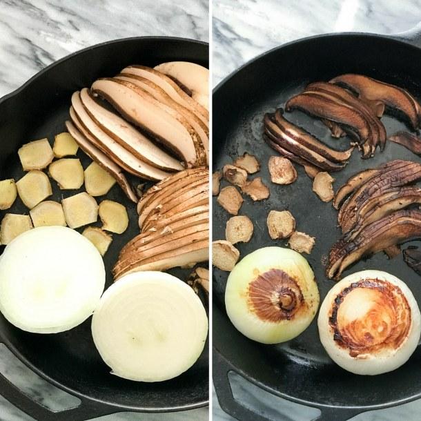 Spaghetti Squash Vegan Pho - Onion, ginger, mushroom, roasted in a cast iron skillet   https://passtheplants.com/