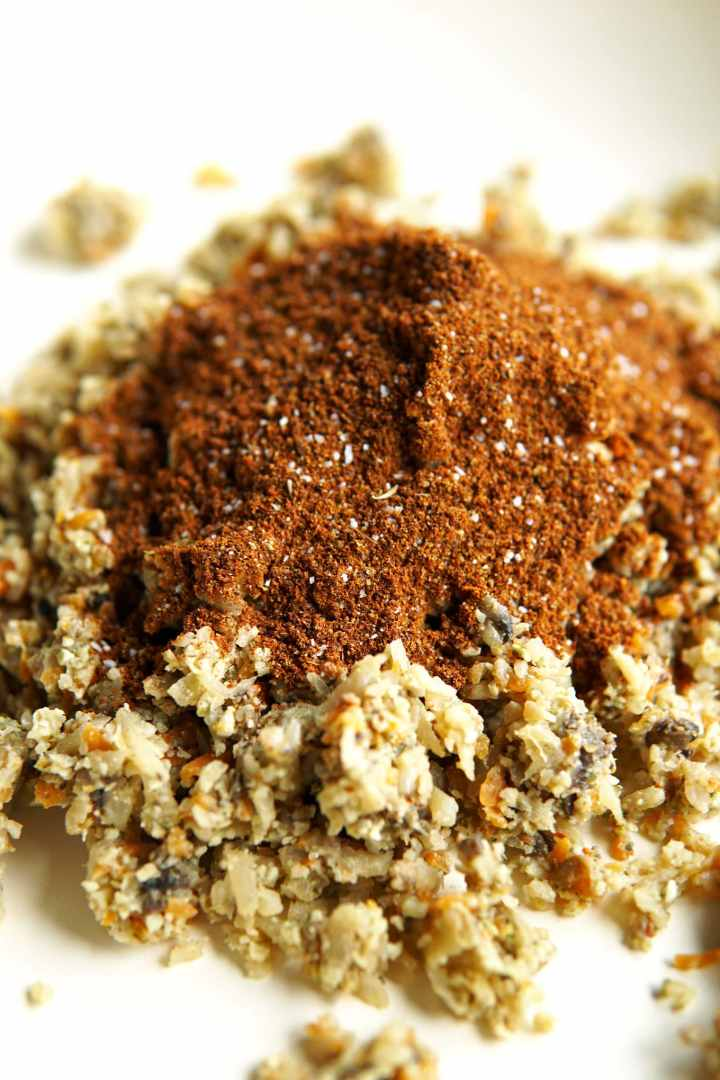 close-up or taco seasoning mix on top of vegetable meat substitute