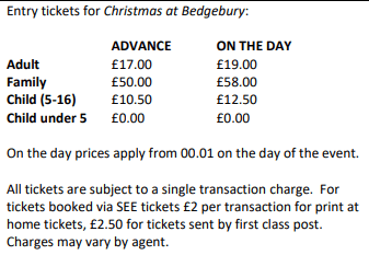 Christmas at Bedgebury Ticket Prices