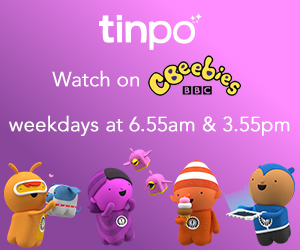 Tinpo is on Cbeebies at 6:55 and 15:55 every day plus on BBC iPlayer