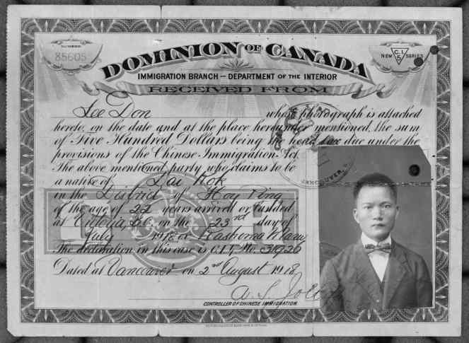 Chinese Immigration Act certificate VPL 30625