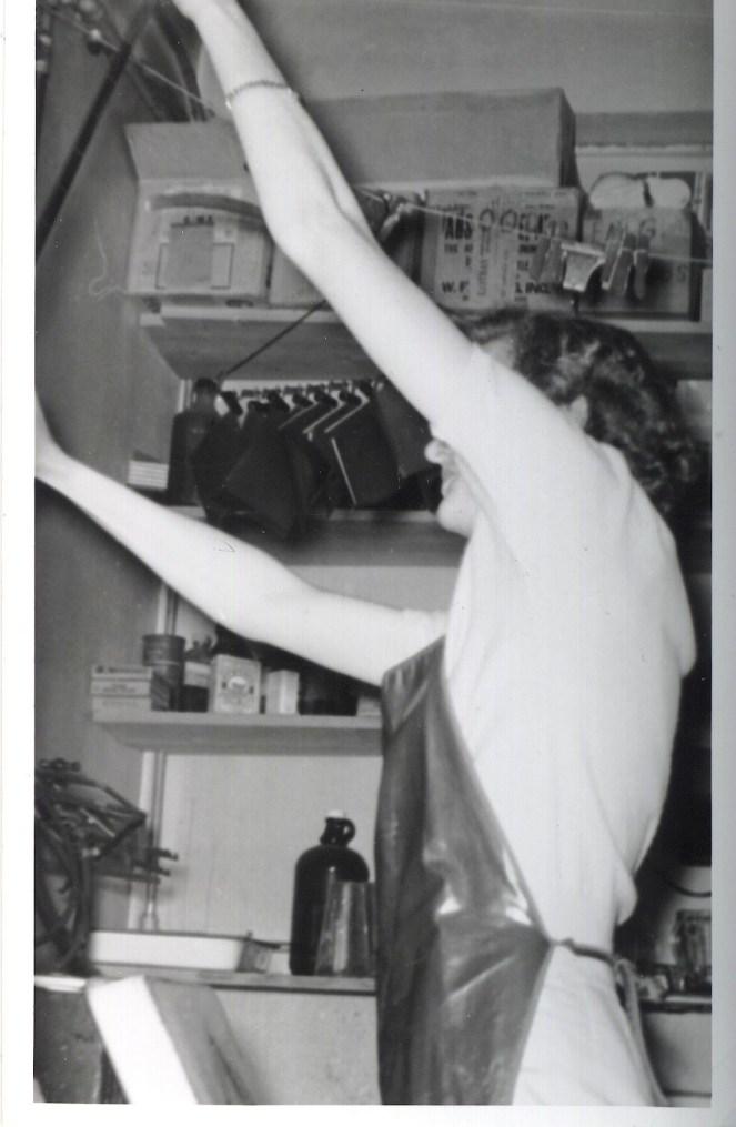 Photo of Dorothy Gibson in her darkroom